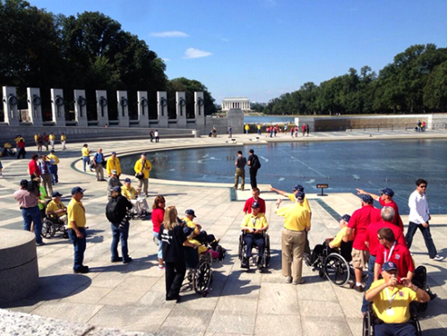 'Greatest generation' veterans sweep past barricades at memorial in their honor
